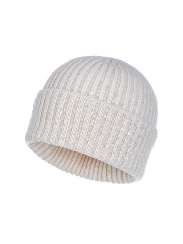 Женская шапка молочного цвета из шерсти и кашемира - фото 1