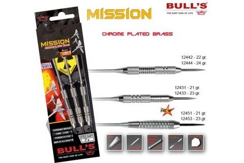 Дротики для дартса (3шт.) Bull's Mission, латунь/хром, 23g (артикул 12433)