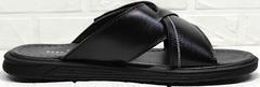Черные шлепанцы сандалии мужские кожаные Brionis 155LB-7286 Leather Black.