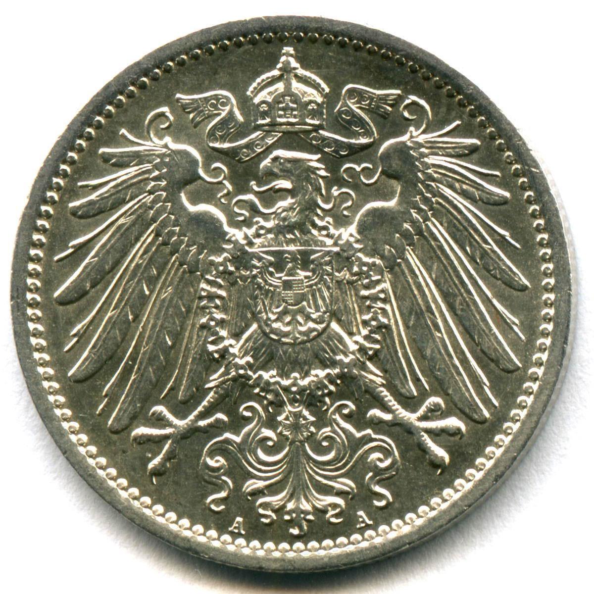 1 марка 1914 (A) Германия XF-AU