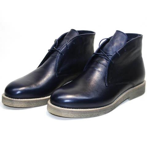 Модные ботинки мужские зимние чакка с мехом на толстой подошве Ikoc 004-9 S размер 40
