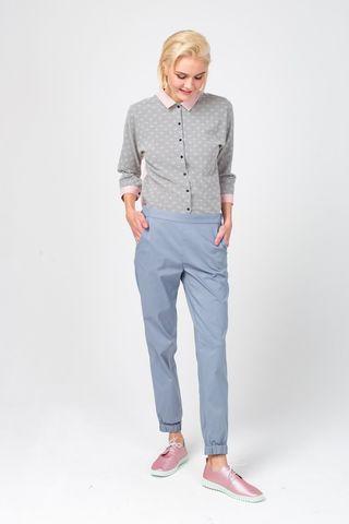 Фото серо-голубые брюки собранные на щиколотке свободного силуэта - Брюки А483-341 (1)