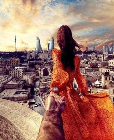 Алмазная Мозаика 40x50 Следуй за девушкой в оранжевом платье (арт. GL73676)