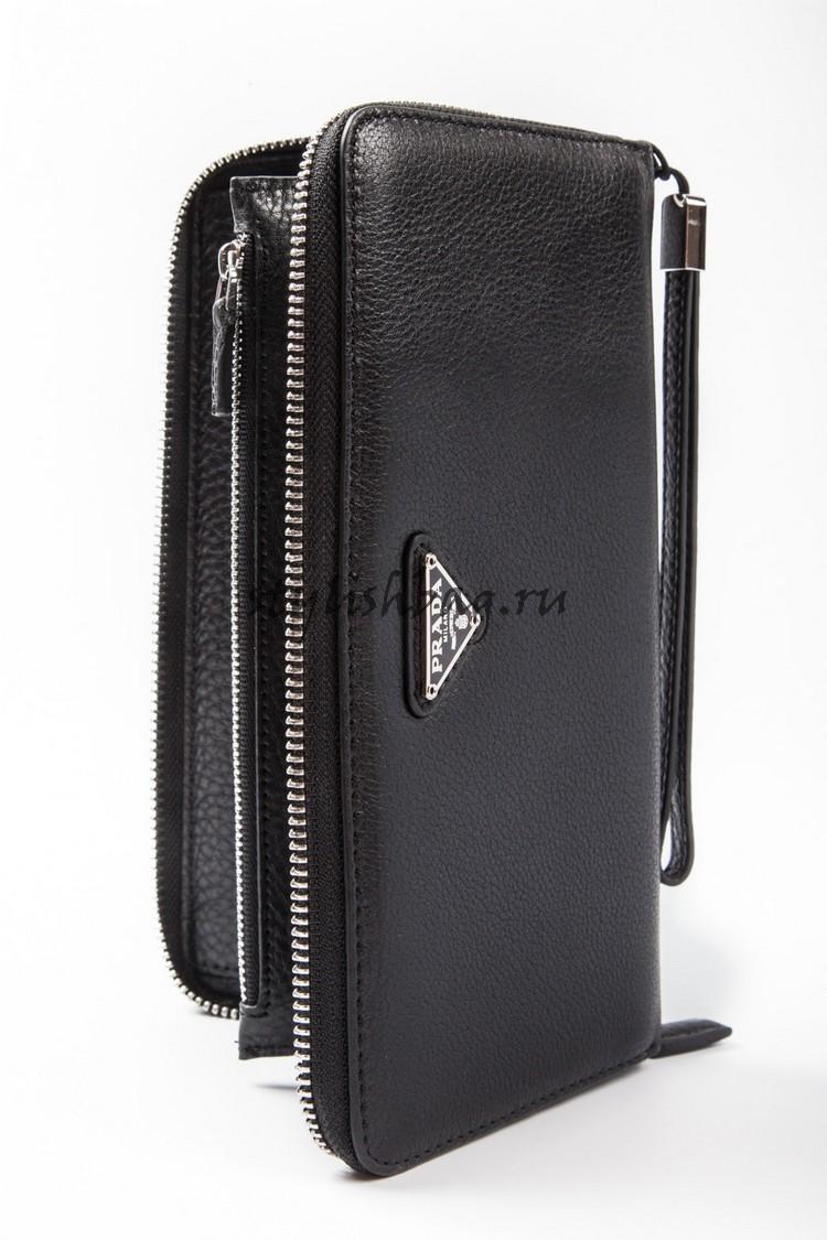 Мужской кошелек на молнии Prada Black Grainy Leather