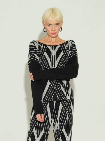 Женский джемпер черного цвета из шелка и кашемира - фото 2