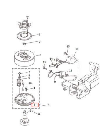 Основание магнетто  для лодочного мотора T2,5 SEA-PRO (5-5)