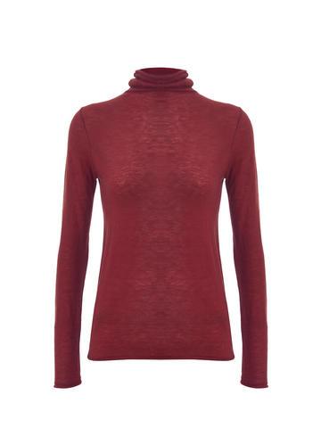 Женская водолазка красного цвета из 100% шерсти - фото 1