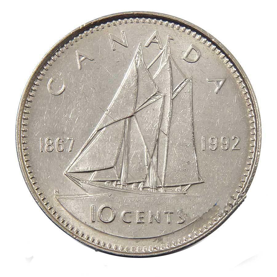 """10 центов """"125 лет конфедерации. Парусник"""" 1992 год UNC"""