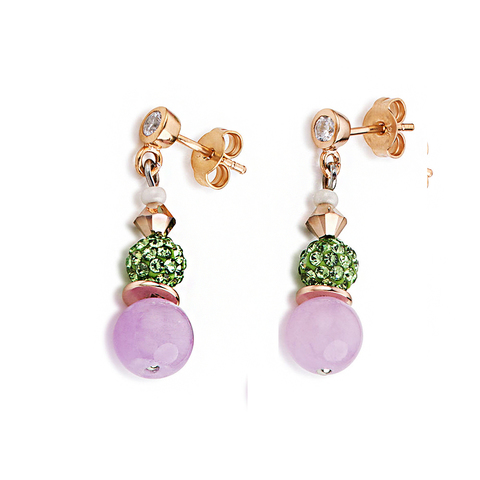Серьги Coeur de Lion 4864/21-0519 цвет розовый, зелёный