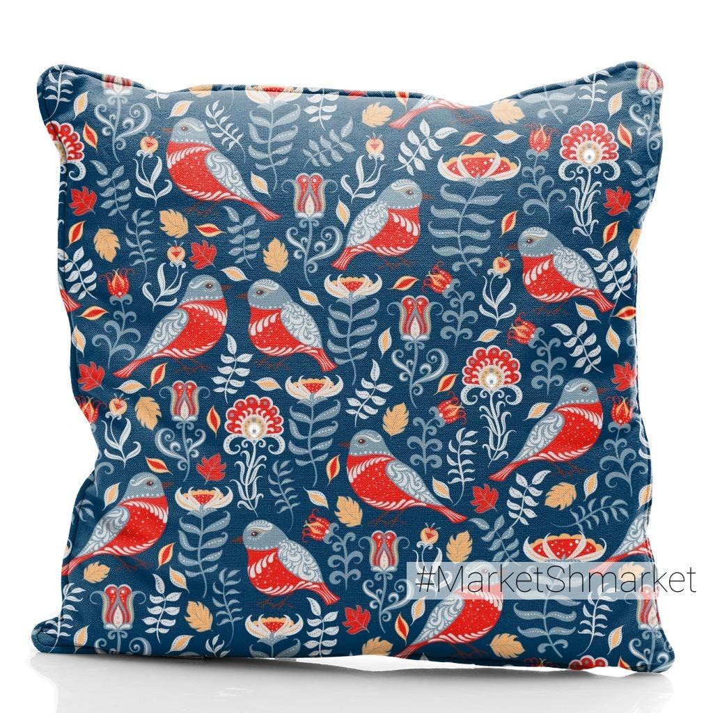 Яркие птицы с орнаментами,  цветы на синем фоне (Дизайнер Irina Skaska)