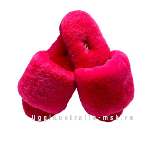 UGG FLUFF SLIDE SLIPPERS WATERMELON RED