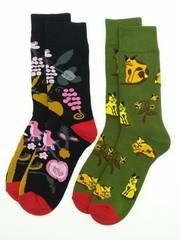 Носки махровые цветные 2 пары (разм 35-38) арт В143/141/БЕЛКА+КОТЫ