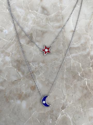 Колье Эфеса из серебра с красной звездой и синим месяцем