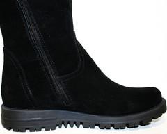 Замшевые сапоги на низком ходу. Черные сапоги осень весна Olli - Астра.