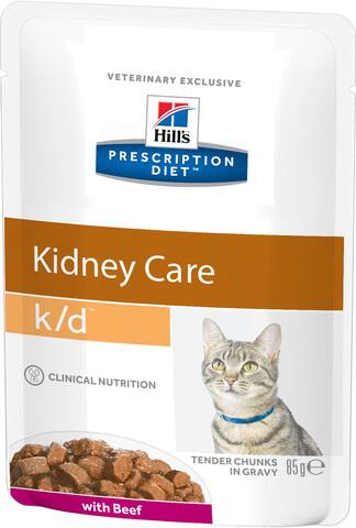 купить хиллс Hill's™ Prescription Diet™ Feline k/d™ Kidney Care with Beef пауч (влажный корм) для взрослых кошек с говядиной, диетический рацион при заболеваниях почек, МКБ (оксалаты, ураты)