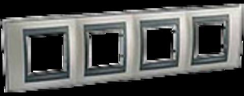 Рамка на 4 поста. Цвет Никель-графит. Schneider electric Unica Top. MGU66.008.239