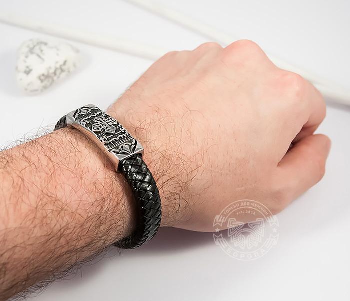 BM390 Массивный мужской браслет с крестом из стали и черной кожи (20,5 см) фото 06