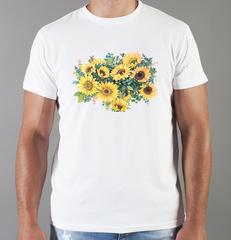 Футболка с принтом Цветы (Подсолнухи) белая 003