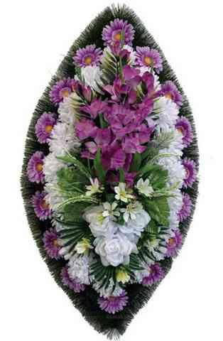 Венок из искусственных цветов розы, гладиолусы, хризантемы, герберы