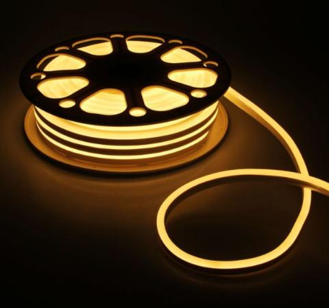 Гибкий неон 8х16 мм, светодиодный | Теплого свечения - 50м | 12 вольт
