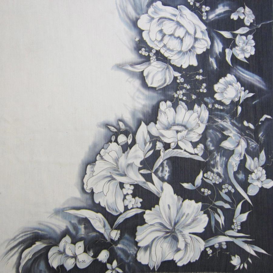 Шерстяной платок батик Черно-белые цветы С-74-sh