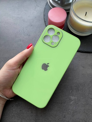 Чехол iPhone 12 Pro Max /6,7''/ Glass Pastel Full Camera /mint gum/