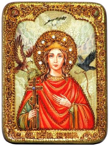 Инкрустированная икона Святая Великомученица Ирина Македонская 20х15см на натуральном дереве в подарочной коробке