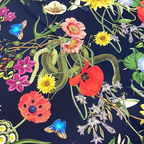 Ткань шелк матовый с эластаном черный с цветами и змеями 1080