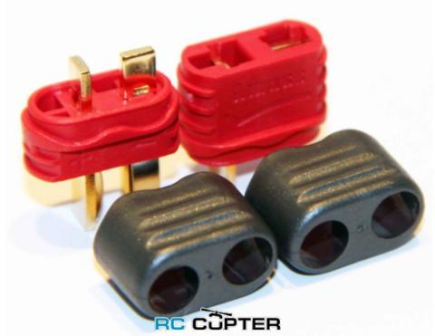 Нейлоновый разъём для батареи AMASS T-plug (папа-мама) с кожухом для защитой провода (пара)