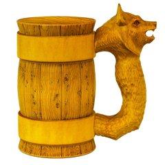 Кружка пивная деревянная WOOD&GOOD Wolf с резной ручкой, 500 мл
