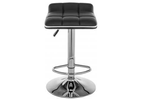 Барный стул Fera 40*40*64 - 84 Черный кожзам /Хромированный металл каркас