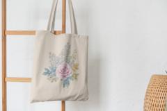 Сумка-шоппер с принтом Цветы (Розы) бежевая 008