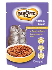Пауч для котят Мнямс с курицей в соусе, рост и развитие котят