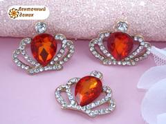 Стразовая корона с большим красным камнем №1