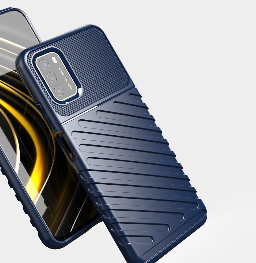 Противоударный чехол синего цвета на Xiaomi Poco M3, серия Onyx от Caseport