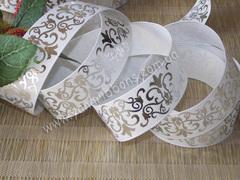 Лента репсовая Серебряный орнамент на белом  25 мм