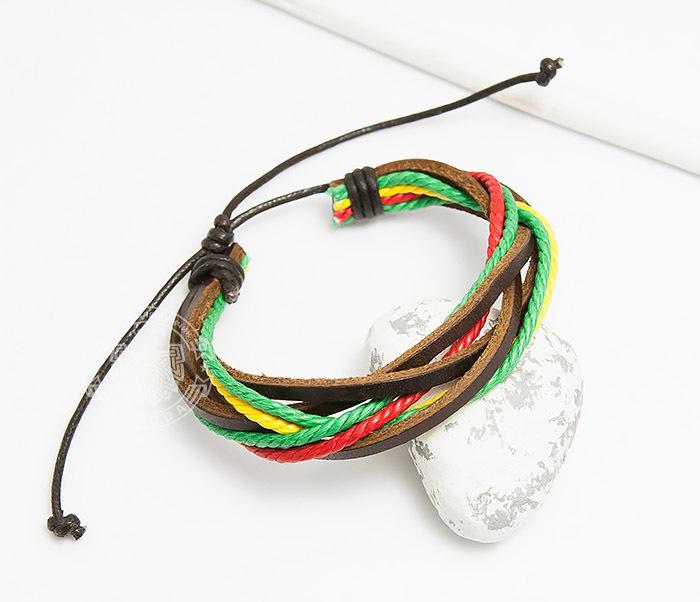 SL0186 Яркий браслет на затяжках из кожи и шнуров, «Spikes»