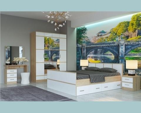 Спальня модульная САКУРА-1 дуб сонома / белый глянец