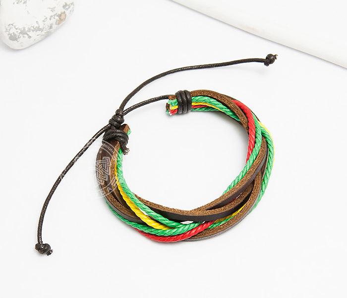 SL0186 Яркий браслет на затяжках из кожи и шнуров, «Spikes» фото 02
