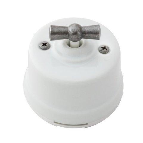 Выключатель одноклавишный проходной, для наружного монтажа. Цвет Белое серебро. Salvador. OP11WT.SL