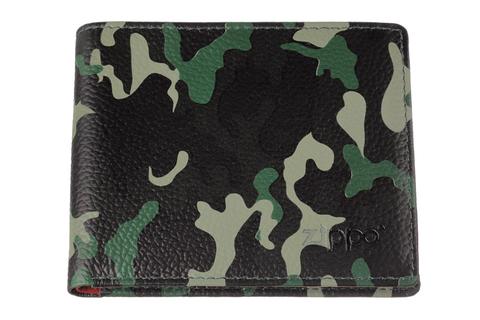 Портмоне Zippo, зелёный камуфляж, натуральная кожа, 10,8×1,8×8,6 см