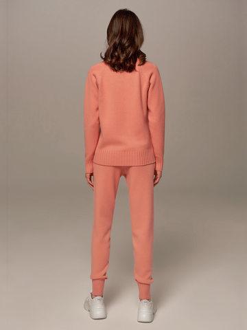 Женские брюки кораллового цвета из шерсти и кашемира - фото 4