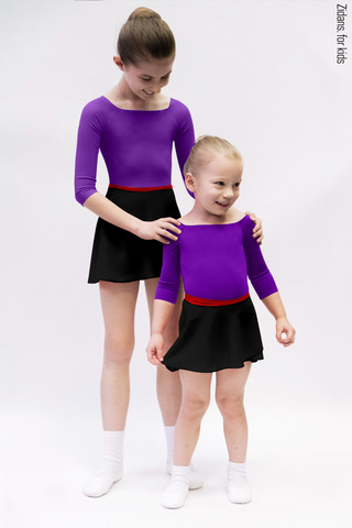 Kids set: 2 Sleeves leotard violet + skirt
