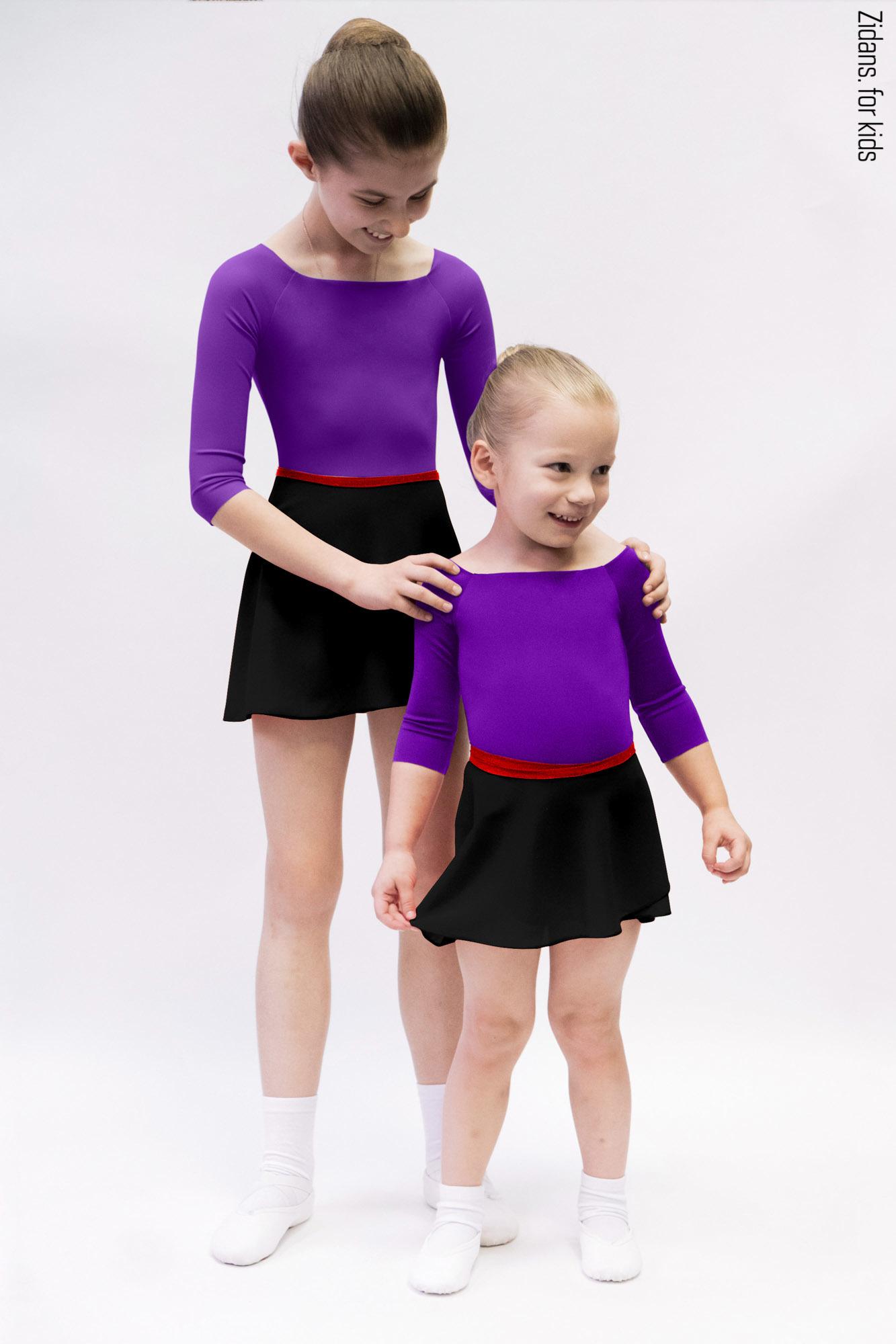 Детский комплект: купальник 2 Рукава фиолетовый + юбка