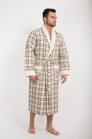 Вафельный  мужской халат Gentelmen Style  кремовый