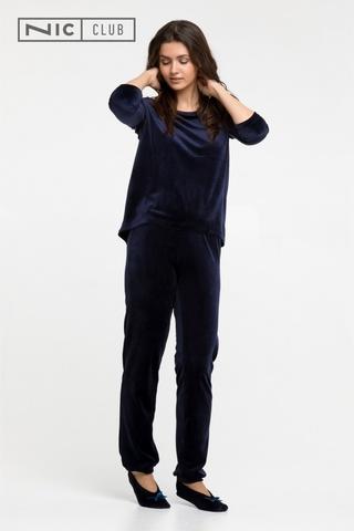 Темно-синий Велюровый костюм с балетками Nic Club Petra 1702