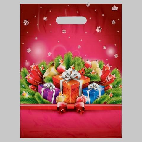 060-0059 Пакет «Малиновый подарок», полиэтиленовый с вырубной ручкой, 40 х 31 см, 60 мкм