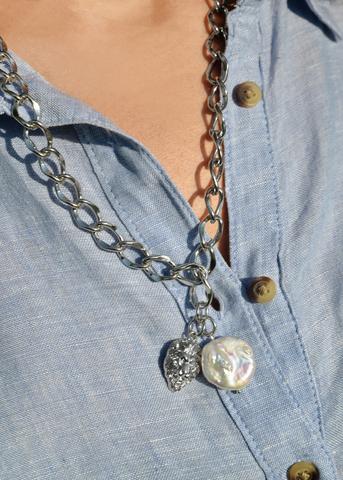 Ожерелье в виде цепи с жемчугом Aurora Leone Silver