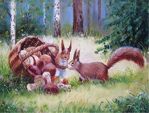 Картина раскраска по номерам 30x40 Белки с корзиной грибов
