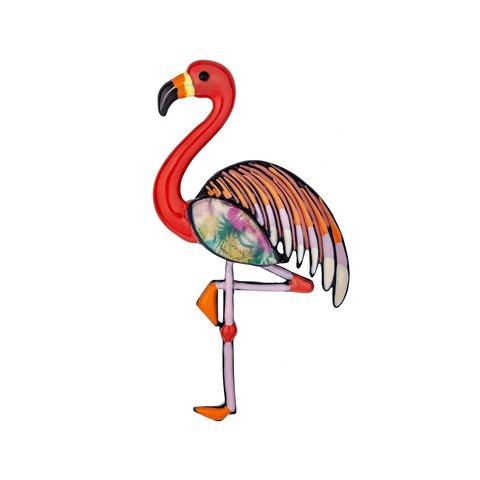 Брошь Фламинго XZ0403.6 R/BW